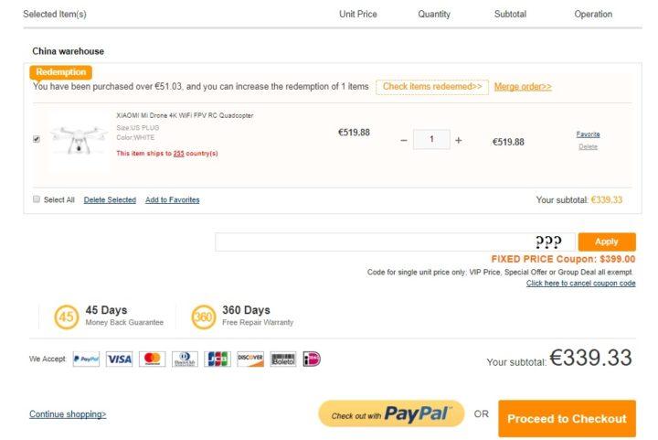 Xiaomi Mi Drone 4k a soli 339 euro
